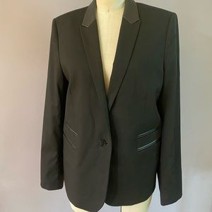 The Kooples black blazer with real leather trim